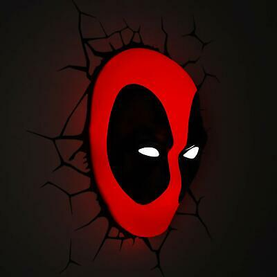 Decorative wall Led Lamp Marvel Deadpool 3D  kids room red black wall light gift