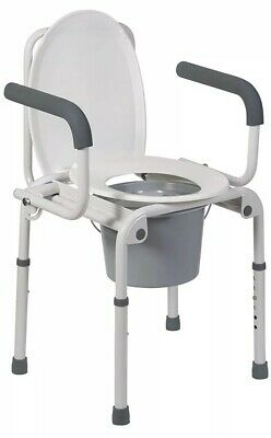 DMI Portable Toilet, Deluxe Commode Chair, Drop Arm Commode For Easy Transfers,