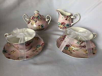 Gracie China by Coastline Imports Rose Porcelain 2 Teacups, Creamer & Sugar Bowl