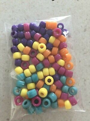 Pony Beads 9x6 mm Mix Colours 100 pack Kids Hair Braid Jewellery FREE POSTAGE