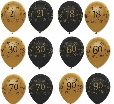 "6 x 12"" Black & Gold LATEX BALLOONS Birthday Party Decorations Age Number"