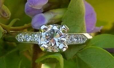 Antique Art Deco c1920s Old European Cut Diamond Platinum Ring Womens  SZ 5.75