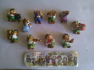 SORPRESINE KINDER FERRERO-top ten teddies-BANDA ORSETTI-COMPLETA+ CARTINA