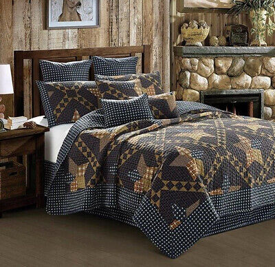 Burgundy Star KING Printed Quilt Set Primitive Rustic Cabin Country Woods