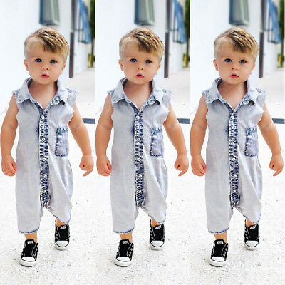 USA Toddler Kids Baby Boy Denim Vest Bodysuit Romper Jumpsuit Clothes Outfit NEW