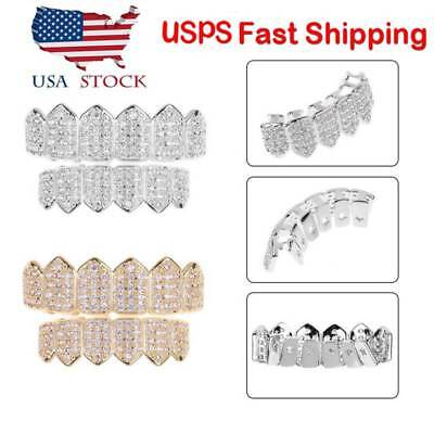 18K Plated Gold / Silver Top Bottom GRILLZ Mouth Bling Diamond Teeth Grills Set