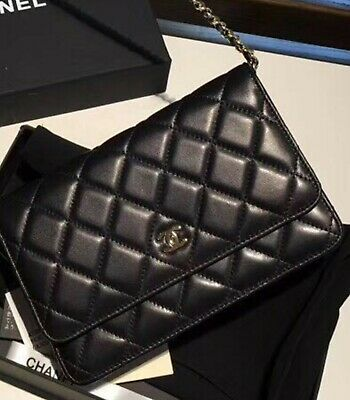 3be854fea1ea Authentic CHANEL Classic Wallet on Chain - Black Lambskin & Silver Hardware