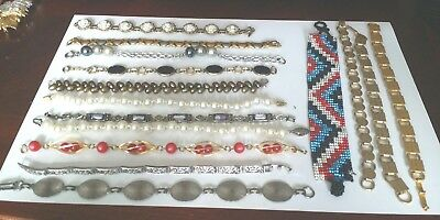 ANTIQUE VINTAGE RETRO modern bracelet lot 15 Pcs bead pearl stainless steel S