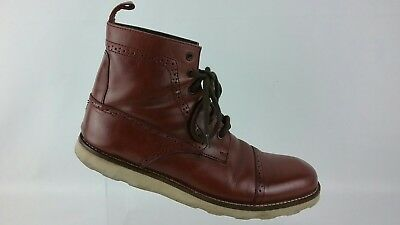 69efa0509f98 Tommy Hilfiger Oxblood Red Leather Brogue Cap Toe Fields Boots Mens 10 M  R4S3