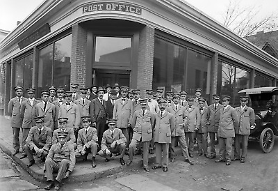 """1920 Workers, Jamaica Plain Post Office, Vintage/ Old Photo 13"""" x 19"""" Reprint"""