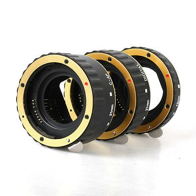 Gold Metal Auto Focus AF Macro Extension Tube/Ring for CANON EOS EF-S Lens
