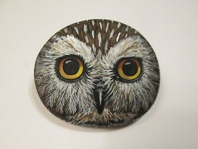Saw Whet Owl Portrait hand painted on a rock by Ann Kelly