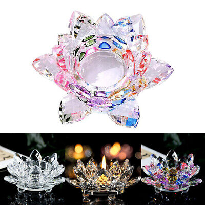 Lotus Multi Colour Tea Light Candle Holder Crystal Glass Flower Candlestick