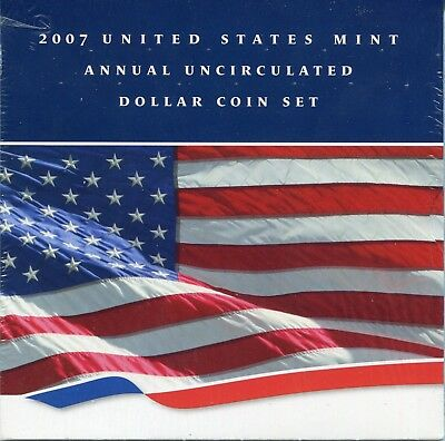 2007 US Mint Annual Uncirculated Dollar Set (6 coins) New Sealed *FREE SHIP