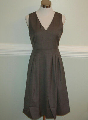 3185ba8f69f JCrew  188 V-Neck Dress in Super 120s Wool Sz 4 Hthr Flannel Grey G7808
