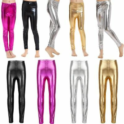 Shiny Metallic Pants Kid Girls Stretchy Leggings Jeggings for Party Dance Casual