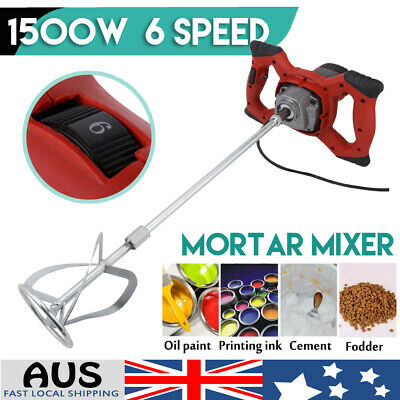1500W Drywall Mortar Mixer Plaster Cement Render Paint Tile Adhesive AU