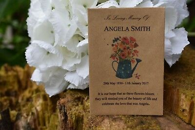150 Funeral Favour Personalised Seed Packets Memorial/remembrance (with seeds)
