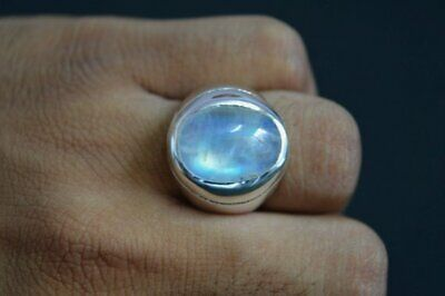 Blue Rainbow Moonstone Gemstone Solid 925 Sterling Silver Mens Ring Size H To Z
