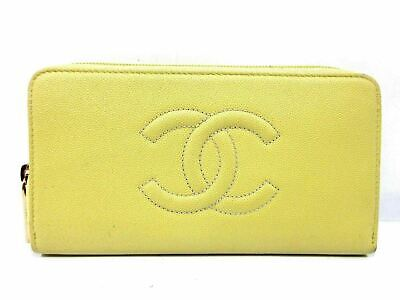 d059ff4d748720 Authentic CHANEL Caviar Skin Zip Around Long Wallet Leather Yellow Great  59438