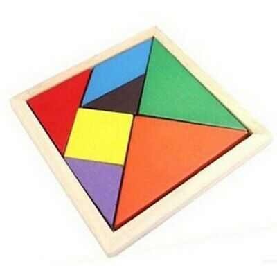 WOODEN TETRIS PUZZLE Tangram Jigsaw Brain Teasers Toy Colorful Wood Puzzles  Kids