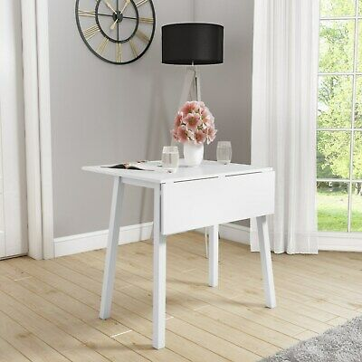 Drop Leaf Dining Table in Off White Solid Wood Square Space Saving