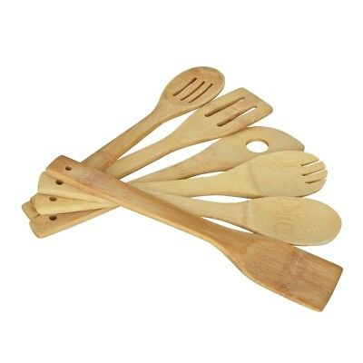 Bamboo Kitchen Utensil Wooden Spoon Spatula Mixing Cooking Fresh Tool Set 6X