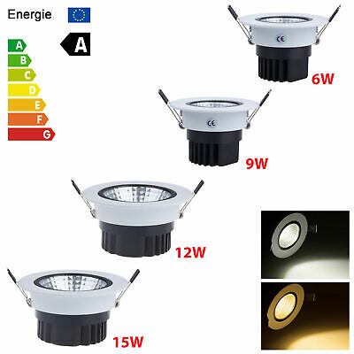 Dimmable COB LED Recessed Ceiling Downlight 6W 9W 12W 15W Spot Light Lamp MKT