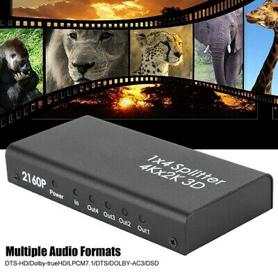 1x4 2x2 1080P 3D HDMI Splitter 4K Repeater Amplifier Box Hub+IR Remote US Plug