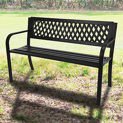Steel Garden Bench 3 Seater Outdoor Patio Park Seating Furniture Home Metal Seat