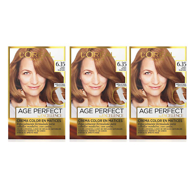 3X L\'OREAL EXCELLENCE Age Perfect 6.35 Light Warm Auburn ...