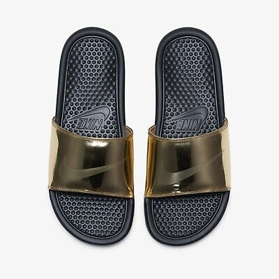new concept 74928 88d42 NEW NIKE BENASSI JDI SE Slide Sports Sandals Slippers -  Gold/Black(CJ0654-770)