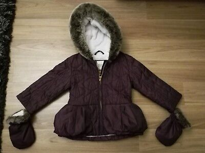 Ted Baker Baby Girls Plum Purple Coat With Mittens 12-18 Months Floral