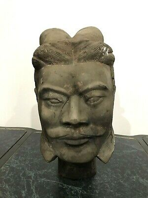 "Chinese Terra Cotta Warrier  Head  16"" X 10"""