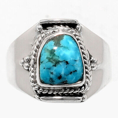 Jewels House Turquoise Gemstone Silver Plated Handmade Statement Ring US-8.5