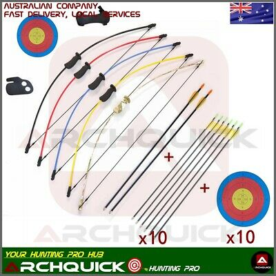 "NEW Kids 36"" 10 LBS JUNIOR Long Bow and Arrow Recurve Archery Target set 5 color"