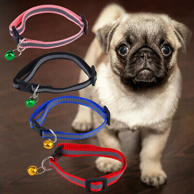 Fashion Kitten Pet Dog Nylon Collar With Bell&release Reflective Safety Buckle