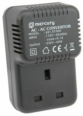 USA American to UK Mains STEP UP Voltage Convertor Travel Adaptor 45W
