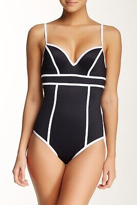 6ba82870d5 Spanx 2626 BLACK SWEETHEART ONE-PIECE SWIMSUIT sz 6 WHITE PIPING NWT  SLIMMING