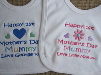 Personalised Baby Bib - 1st Mothers Day 2019 - Embroidered Gift - Boys/Girls