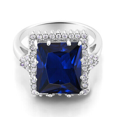 5.50 Ct Emerald Cut 12x10mm Blue Simulated Sapphire 925 Sterling Silver Ring