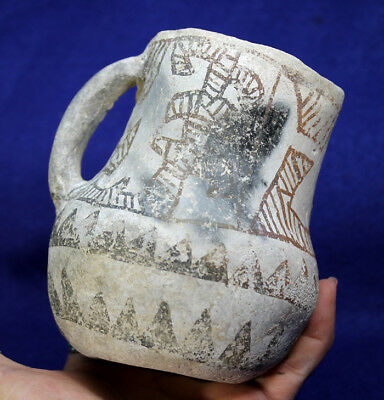 "A Great ""Black on White ""Chaco Style Pitcher"" Authentic Prehistoric Artifact"