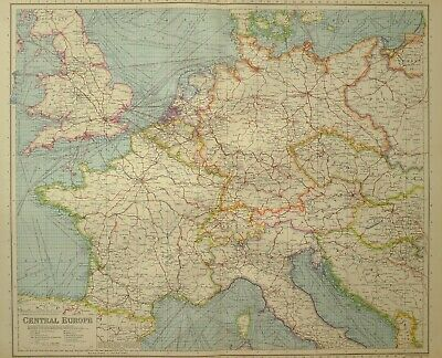 1933 Map Central Europe Steamship Routes Railways France Holland Belgium Italy