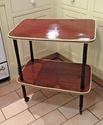 Lovely Vintage 2 Tier Hostess Trolley - Wooden Formica - Cream Trim, Black Legs