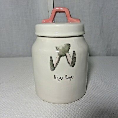 """Rae Dunn Bunny Hip Hop Easter Canister Pottery Artisan Collection Magenta 7"""""""