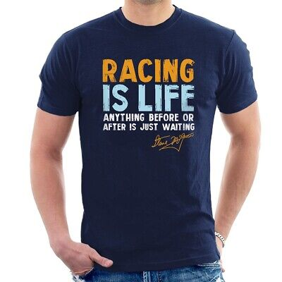 Steve McQueen T-SHIRT Racing is Life Lee Mans Porche Gulf ALL SIZES D30