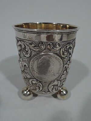 Antique Beaker - Baroque Style Cup w/ Coins Medallions - German 830 Silver