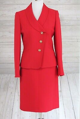 ca44a3663a13c Tahari ASL Levine 2 pc Skirt Suit Blazer Set Red Ribbed Career Office Size 6
