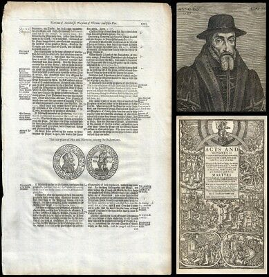 RARE! 1641 FOXE'S BOOK OF MARTYRS, JOHN (JAN) HUS 'leaf' with WOODCUT - To Frame