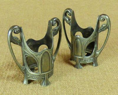 WMF - PAIR of ART NOUVEAU VASE HOLDERS c.1909 - Britannia Metal (Pewter)